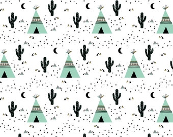 Teepee and Cactus Fabric - Tipi Teepee - White Background By Kimsa - Teepee Southwestern Cacti Cotton Fabric By The Yard With Spoonflower