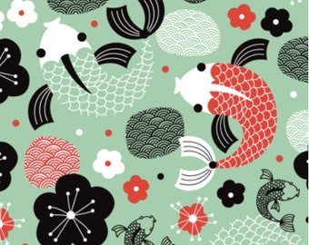 Japanese Koi Fish illustration in Green fabric designed by LittleSmileMakers - Koi Fish Cotton Fabric - by the yard with Spoonflower