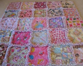 I Spy or Sampler Baby Girl Rag Quilt Blanket 35x35