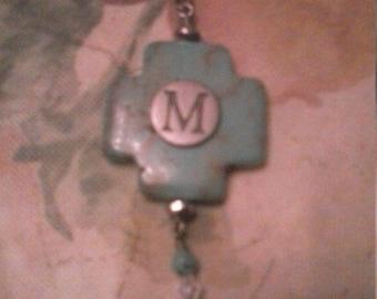 Turquoise Cross Purse Key Clip