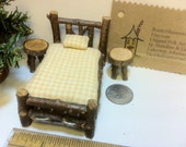 Half Inch Scale Set Rustic Miniature Dollhouse Furniture Log Cabin 5 pieces: Bed Tables Woodland Fairy Checks