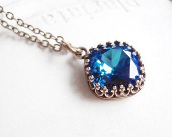 Swarovski Crystal Necklace - Teal and Blue Flashing Cushion Cut Crystal in Crown Setting - Bermuda Blue