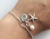 Personalized Starfish Bracelet in Sterling Silver - Beach Bracelet - Beach Wedding, Bridesmaid Gift