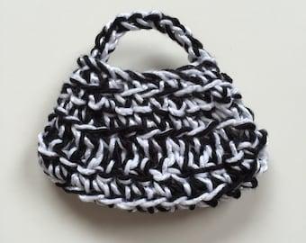 Handmade Ellowyne Gene Clothes Purse Handbag Crochet Black White