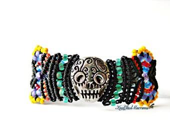 Sugar Skull Micro Macrame Bracelet  - Beaded Macrame - Day of the Dead Jewelry - Día de Muertos Jewelry - Green Girl Sugar Skull