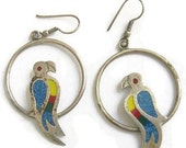 Vintage Mexico Alpaca Silver and Red, Yellow and Blue Enamel Parrot Bird Dangle Earrings