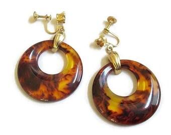 Vintage Translucent Honey Amber Bakelite & Topaz Rhinestone Dangle Earrings