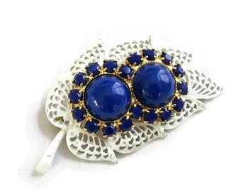 Vintage White Enamel with Cobalt Blue Glass Cabochons & Rhinestones Leaf Brooch or Pin