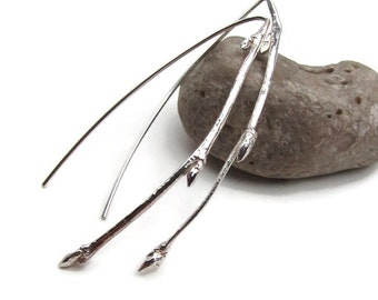 Cast Sterling Silver Twig Stick Long Earrings - Sculptural Nature Earrings - Silver Elegant Earrings - Long Statement Earrings - E-004