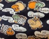 3+ Yards of 60/70s Polyester Hippopotamus Fabric