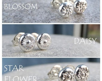 Sterling Silver Stud Earrings - FLOWER PEBBLES - Blossom, Daisy or Star Flower - Hand Stamped Textured Metalwork Jewelry - Choose texture