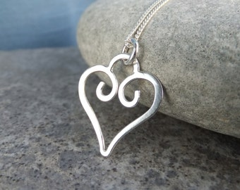 Sterling Silver Wire Heart Charm Pendant  - Handmade Metalwork Wirework Necklace Jewelry Jewellery - Love Loveheart Wire Heart Valentines