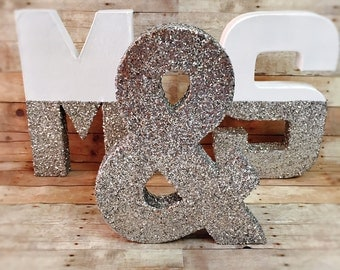 Silver glitter dipped lettes glitter dipped  letters silver and white letters wedding center piece gift bat mitzvah decor christmas decor