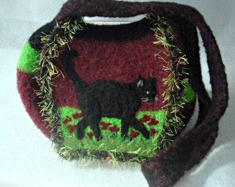 Felted Purse, Felted Handbag, Felted Cat Bag, Felted Black Cat, Needle Felt Cat