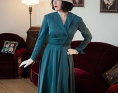 SUMMER SALE - Vintage 1940s Dress - Smashing Teal Gabardine 50s Day Dress with Full Skirt, Winged Collar and V Shaped Button Closure