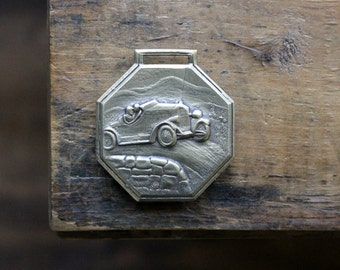Vintage Car Racing Watch Fob, Brass Roadster Tag, Motorcar Racing Fob, Gifts for Guys