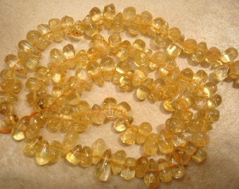 Natural Sidedrill Drops 7.5-8.5mm CITRINE Beads 14.5 Inches ETSY-30