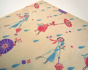 Vintage 1950's Mid Century Bridal Shower Wrapping Paper   7 Unused Uncut Sheets of Gift Wrap   Blue Pink Purple Women with Umbrella