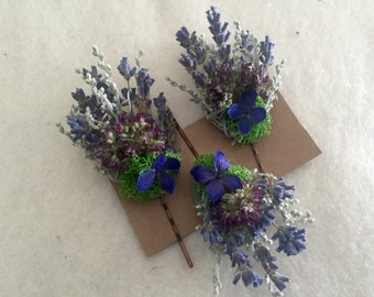 Gift set of 3 colorful bobby pins adorned with dried Lavender and other purple dried flowers.