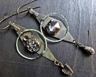 Syzygy. Rustic Victorian tribal earrings in silver grey with kuchi.