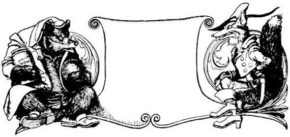 bear fox scroll animal clipart png clip art jpg frame banner digital stamp Digital Image Download graphics fairy tale art line art vintage