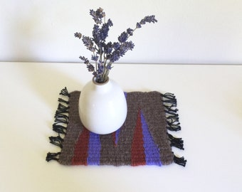 Tiny Table Textile No.5 - Grey with Purple and Rust Triangles