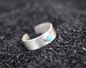 Midi ring, sterling silver, turquoise, hammered, adjustable, band // BLISS MIDI