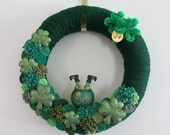 Shamrock Wreath, St. Patricks Day Wreath, Pot of Gold Wreath, Irish Wreath, 14 inch size - Ready to Ship