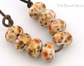 Pumpkin Spice Handmade Lampwork Glass Beads (8 Count) by Pink Beach Studios (1042)