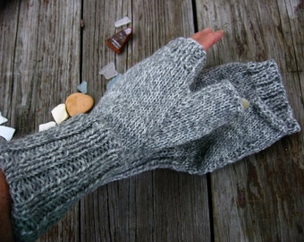 Knit Unisex Mitts Fingerless Mittens Softest Heather Grey Wool Tweed Seamless Mittens Women's LG, Men's Medium by Textilesone Ready to Ship