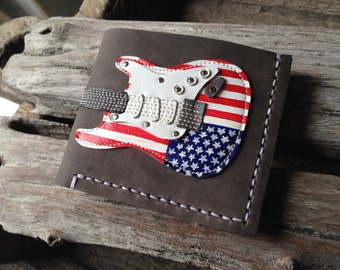New!!! Item Men Wallet Stratocaster Guitar : Flag of the United States!