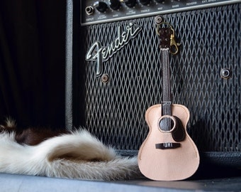 NEW ITEM!!!!!Leather Keychain Acoustic guitar Colored Wood