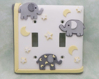Elephant, Stars, Moon Light Switch or Outlet Cover - Gray, White, Yellow - Elephant Nursery - Childrens Jungle Safari Themed Room
