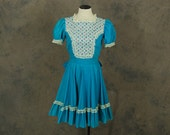vintage 60s Ruffled Babydoll Dress - 1960s Blue Lace Bib Front Square Dance Dress Sz S