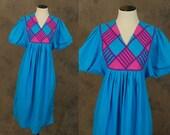 vintage 80s Tent Dress - Blue India Cotton Dress 1980s Geometric Bib Front Tent Dress Sz S M