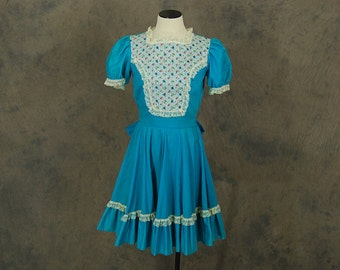 vintage 60s Ruffled Babydoll Dress - 1960s Blue Lace Bib Front Square Dance Dress Sz S