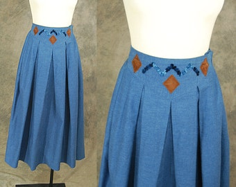 vintage 80s Jean Skirt - High Waist Dark Chambray Denim Skirt - 1980s Dark Denim Midi Skirt Sz XS S