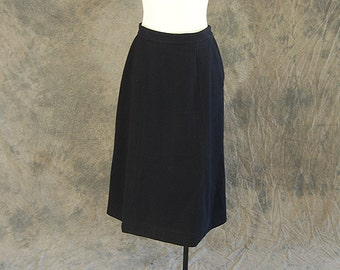 CLEARANCE SALE vintage 50s Wool Skirt - 1950s Black Wool Felt Skirt - High Waist Full Skirt Sz M