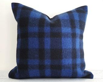Blue Buffalo Plaid Pillow, Blue Black Plaid Pillow Cover, Textured Wool Pillow, Rustic Cabin Pillows, 18x18, 20x20, Winter Lodge Decor, NEW