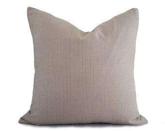Tan Plaid Pillow Cover, Light Brown Pillows, Tan Cream Glen Plaid Pillows, Plaid Toss Pillows, Winter Cushion Covers, 18x18,