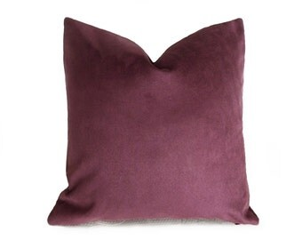 Solid Purple Throw Pillows, Purple Decorative Pillow Covers, Textured Toss Cushions, Wine Plum, Contemporary Decor, 14x20, 18x18, 20x20