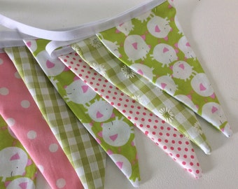 Bunting - This Little Piggy, pink and green flag banner 12 flags 2.4m long