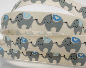 15 mm Blue Elephant Printed Cotton Ribbon, 5/8 inch Child's Elephant Patterned Natural Cotton Tape