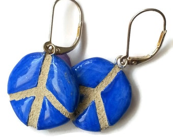 Peace Sign Symbol Earrings - Ethnic Tribal Design - REVERSIBLE