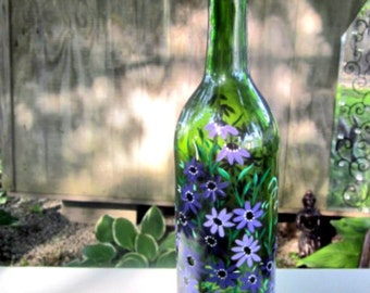 Incense Burner, Smoking Bottle, Recycled Green Wine Bottle, Incense Holder, Hand Painted Shades of Purple Flowers