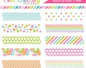 Happiness Digital Labels Clipart in Pink Orange Green & Blue Digital Washi Tape Clip Art Graphics Commercial Use