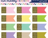Gold Glitter Side Flags Clipart Glitter Dipped Shapes Clip Art Graphics Commercial Use OK