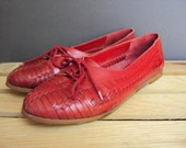 Bright Red Woven Leather Oxfords Brogues Lace Shoes 8.5 Brazil Flats