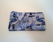 Winter Blue Jays Zippered Small Baglet Case