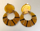 Lucite Dangle and Drop, Large Bold Earrings Vintage Costume Jewelry 1960's